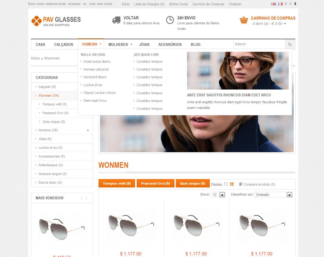 01909eee4babf Tema Loja OpenCart para óticas, oculos - Rei dos Templates