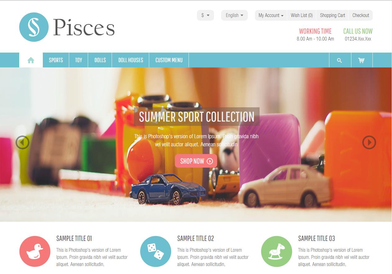 737a8701f0f3b Tema loja virtual opencart para loja de crianças, móveis, calçados, flores